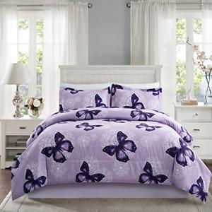 ARTALL Lightweight Microfiber 3 Piece Comforter Set with 2 Shams, Butterfly Set,