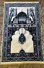 """Vintage Castle Blue & Cream Felt Tapestry Fringes Rug / Wall Hanging 42.5""""x25.5"""""""