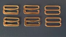"Gold Metal 1/2"" (15mm) Hook Slide Set Bra Lingerie Bathing Swimsuit Strap USA"