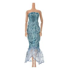 "1 Pcs Fashion Sequin Sky Blue Mermaid Dress for 11"" s Dolls New Beauty CA"