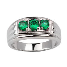 3-stone Simulated Green Emerald Men Sterling Silver Ring Size 12 May Birthstone