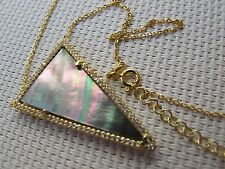 """16"""" Triangle Mother of Pearl Pendant 925 Silver with Gold Plated Necklace N39"""