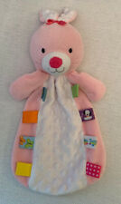 TAGGIES Pink Bunny Rabbit Lovey Security Blanket Rattle Minky Satin Tactile Tags