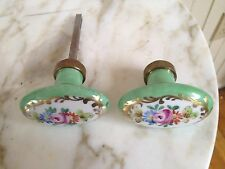 Antique Limoges Green Apple Flower Design & Gold Leaf Porcelain Door Knob Set