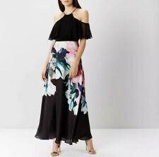Simply Be Coast Black Ground Flamenco Maxi Long Dress Floral Size 14 UK BNWT