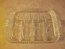 Clear Glass Tray with Fruit Motif - Serving Platter Tableware