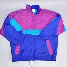 Vtg 1990's Adidas Men's Windbreaker Colorblock Magenta Blue Trefoil Padded Sz XL