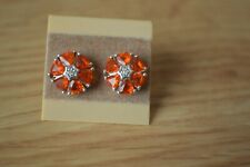 1.42ct Crimson Fire Opal/ Zircon Earrings Platinum over Fine Silver
