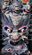 Wood Carved Hand-painted Dragon beast mahakala facial makeup Mask Wall Hanging