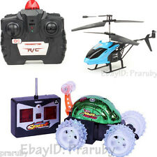 2 Toys: Remote Control Stunt Car + Infrared Remote Control Helicopter For Kids