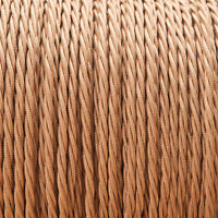 Old Gold Light Brown Twisted Braided Fabric Cable 3-Core 0.5mm for lighting