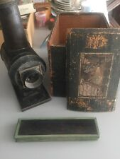Vintage Magic Lantern Projector, Original Box, Lot of 12 Wide Slides, EP