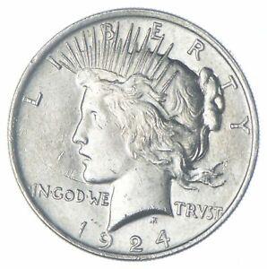 Choice AU/UNC 1924 Peace Silver Dollar - 90% Silver *959