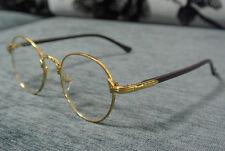 Men Women Vintage Gold Eyeglass Frame Plain Glass Clear Full-Rim Spectacles RX
