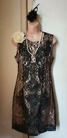 Bnwt(£38) Vintage 1920s Style Black Lace/Champagne Cornelli Dress.Flapper/Gatsby