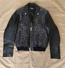 DSQUARED Jacket VIRGIN WOOL BLEND & LEATHER  Bomber $2300 Size 50