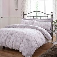 Polycotton Light & Dark Grey Floral Design Reversible Duvet Set or Curtains