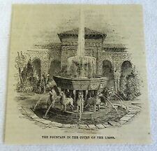 small 1882 magazine engraving ~ Fountain In Court Of Lions, Spain