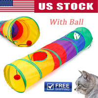 New Kitty Cat Play Tunnel Pet Toy - Four Exit Holes - 4 Feet Long- With Ball