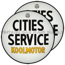"""Pair of Cities Service Koolmotor 13.5"""" Gas Pump Lenses (G115)"""