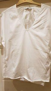 New Mango  T-shirt Blouse V neck Top white size Large RRP £ 18 zara next