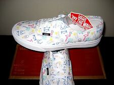 Vans Authentic Womens Neon Lights Tropical White Canvas Boat shoes Size 8.5