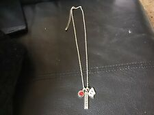Wisconsin Badgers 3 Charm Red Crystal Silver Chain Necklace Jewelry Ncaa Uw