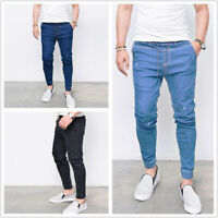 Mens Denim Long Pants Skinny Ripped Casual Slim Fit Jeans Bottom Trousers Summer