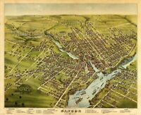 Vintage Map Bangor, Penobscot County, Maine, 1875 USA POSTER PRINT WALL DECOR