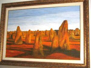 The Pinnacles Limestone Formations in Desert of Nambung WA Original Painting