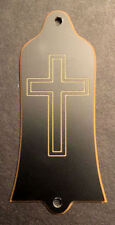 GUITAR TRUSS ROD COVER - Engraved - Fits GIBSON USA - CROSS - BLACK GOLD