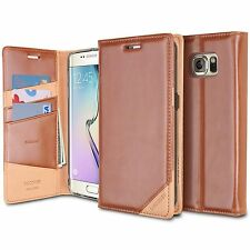 Ringke DISCOVER Series Genuine Leather Wallet Flip Case for Galaxy S6 Edge Brown