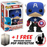 FUNKO POP CAPTAIN AMERICA BLACK & BLUE SDCC 2017 EXCLUSIVE + FREE POP PROTECTOR