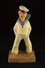 Vtg Henning Norway Carved Wood Rare Navy Sailor in White Uniform Figurine Signed