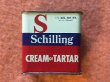 Vintage Schilling Cream of Tartar Tin.  1 1/2 oz.  1950's.