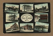 Eau Claire,WI Wisconsin Greetings from: 8 mini views used 1914