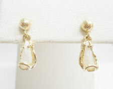 Vintage 14k Yellow Gold Freshwater Tennessee Pearl Dangle Earrings  #2874