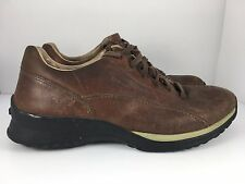GEOX Respira Men US 10 Brown Leather Bicycle Toe Oxford Shoes  J6