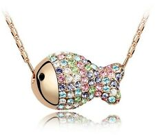 18K Gold GP SWAROVSKI Element Crystal Luxury Fish Pendant Necklace Gold