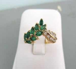 Elegant 925 Silver Rings Women Emerald Wedding Engagement Ring Jewelry Size 6-10