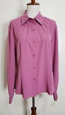 Kathy Che Womens 10 Misty Rose Pink Mauve L/S Button Blouse Pleats Collar NEW