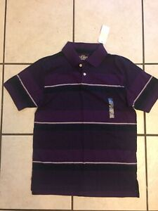 Boys Polo Shirt NWT 10 12 Large Old Navy Deep Purple Striped Back to School Top