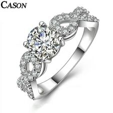 White Gold Engagement Ring Jewelry Gift Cubic Zirconia Wedding Rings Fashion 18K