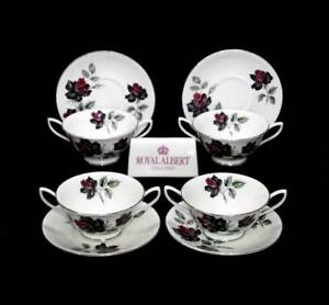 Vintage Royal Albert Masquerade set of 4 soup coupes bowls and saucers