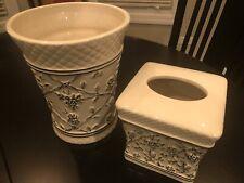 Waverly Garden Room Wellington Toile Black Ceramic Tissue Box & waste basket