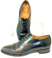 Jack Erwin Oxford Men's Sz 8 D Black Leather Cap Toe Lace Up Dress Shoe Portugal