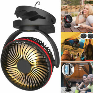 Outdoor USB Camping With Hook Rechargeable 4 Speeds Fan Portable Tent Lamp New