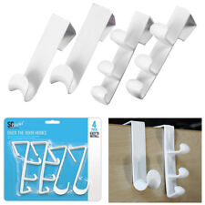 4 x WHITE STRONG OVER THE DOOR HOOKS Wash Room Bathroom Clothes Towel Hanger Peg