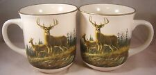 2 Cabela'S Autumn Whitetails Deer Coffee Mugs Stoneware Hautman Hunting Buck