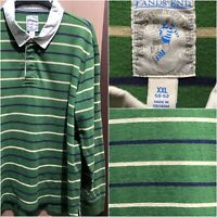 VTG LANDS END Mens XXL GREEN BLUE Tan STRIPED LONG SLEEVE RUGBY SHIRT Authentic